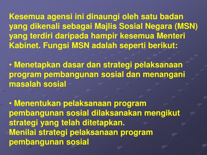 Kesemua agensi ini dinaungi oleh satu badan yang dikenali sebagai Majlis Sosial Negara (MSN) yang terdiri daripada hampir kesemua Menteri Kabinet. Fungsi MSN adalah seperti berikut: