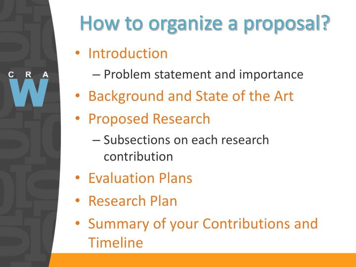 How to organize a proposal?