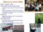 nancy in one slide