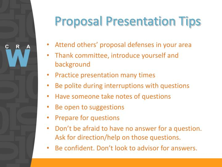 Proposal Presentation Tips