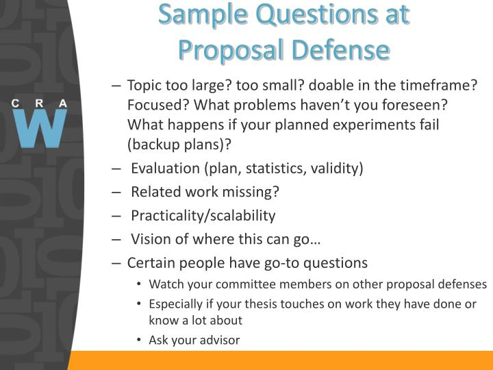 Sample Questions at Proposal