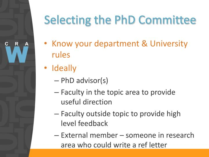 Selecting the PhD Committee