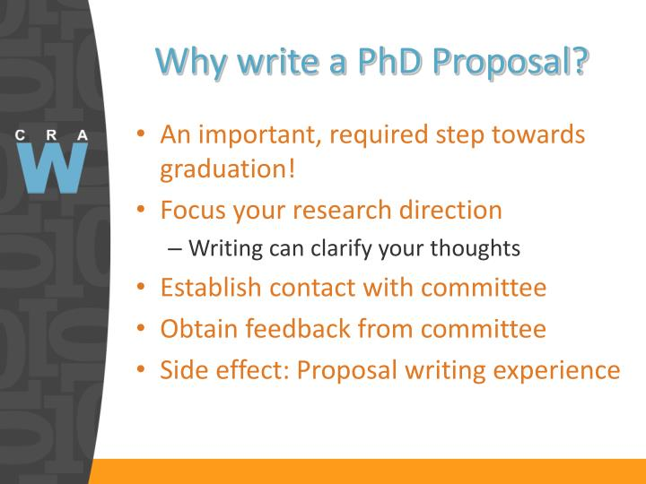 Why write a PhD Proposal?