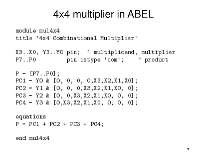 4x4 multiplier in ABEL