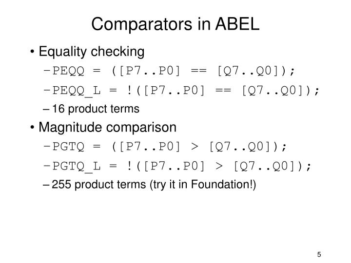 Comparators in ABEL