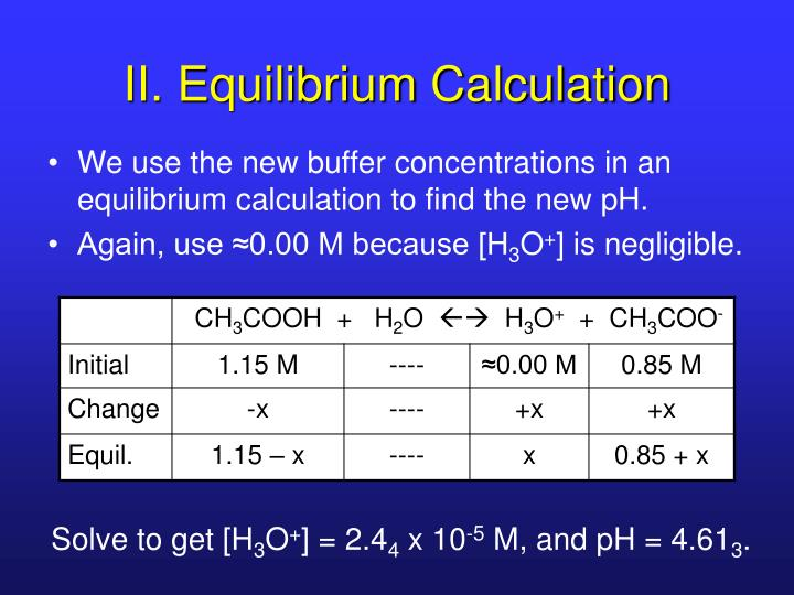 II. Equilibrium Calculation