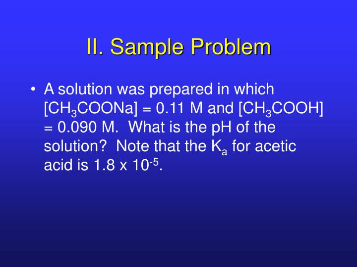 II. Sample Problem