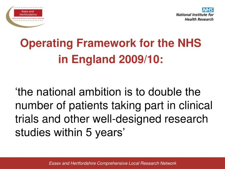 Operating Framework for the NHS
