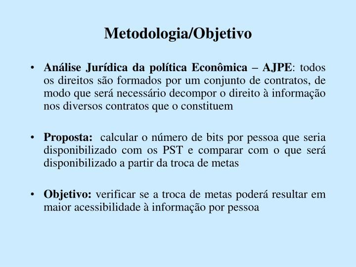 Metodologia/Objetivo