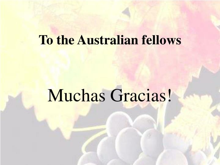 To the Australian fellows