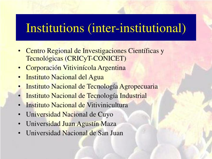 Institutions (inter-institutional)