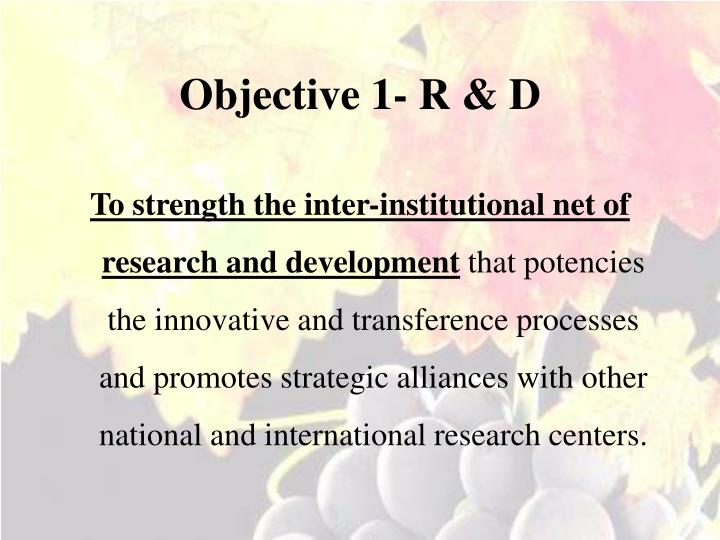 Objective 1- R & D