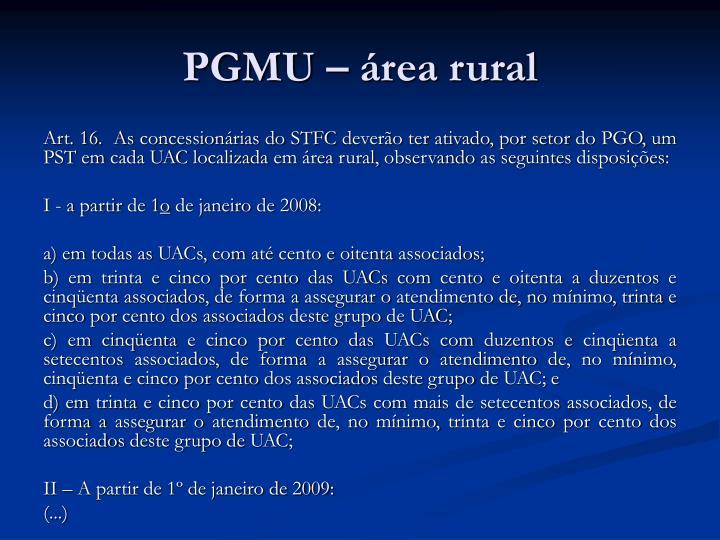 PGMU – área rural