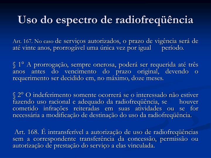 Uso do espectro de radiofreqüência