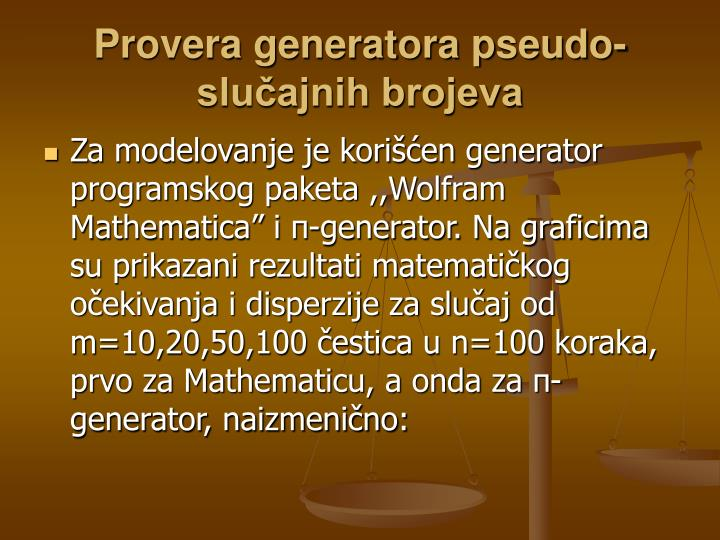 Provera generatora pseudo-slučajnih brojeva