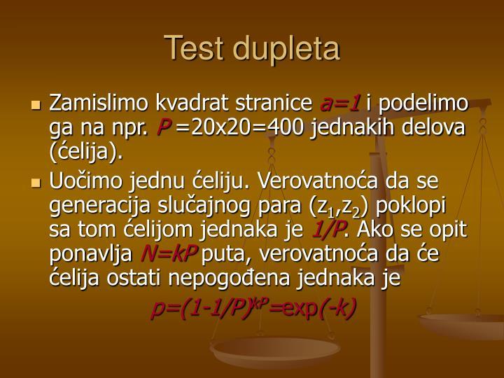 Test dupleta