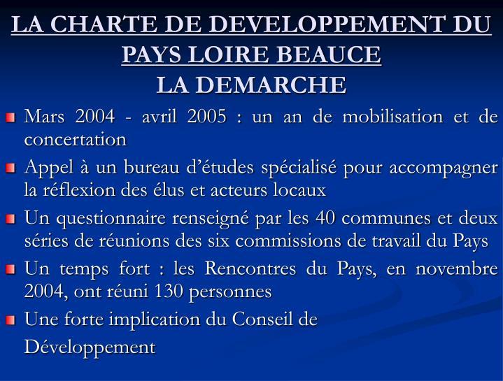 LA CHARTE DE DEVELOPPEMENT DU PAYS LOIRE BEAUCE