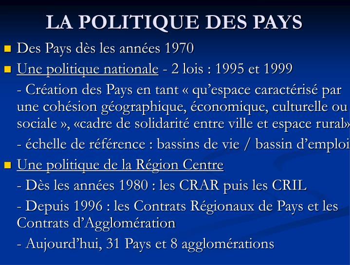 LA POLITIQUE DES PAYS