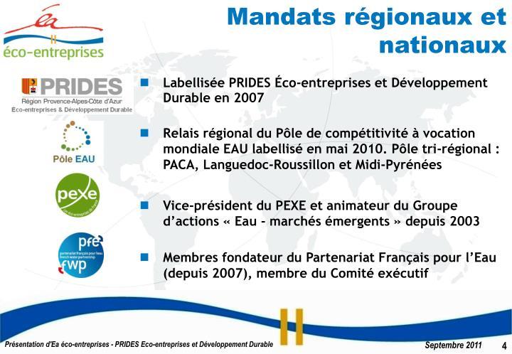 Mandats régionaux et nationaux