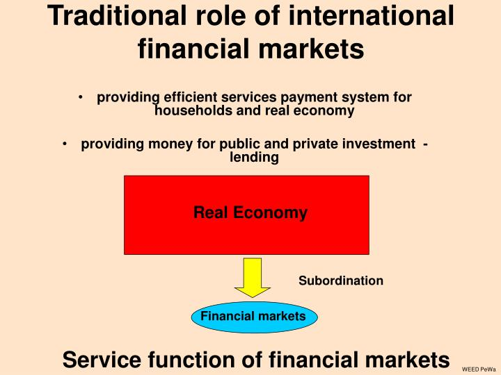 Traditional role of international financial markets
