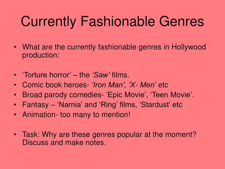 Currently Fashionable Genres