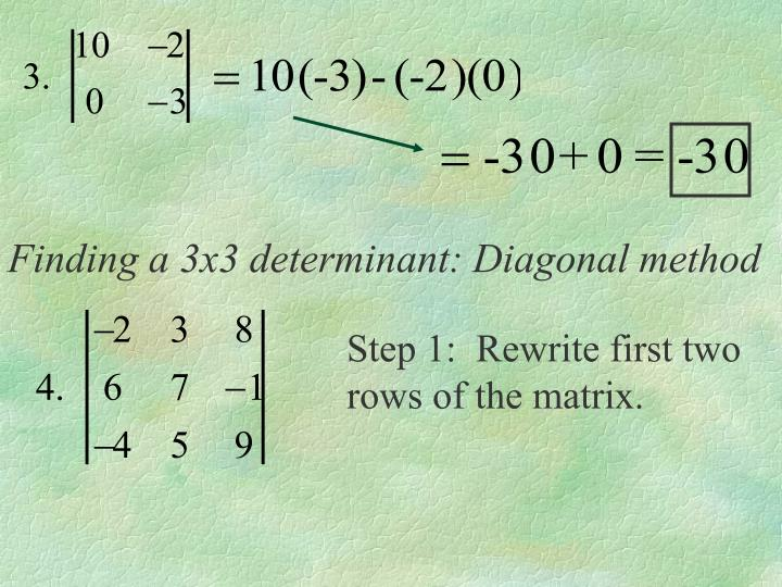 Finding a 3x3 determinant: Diagonal method