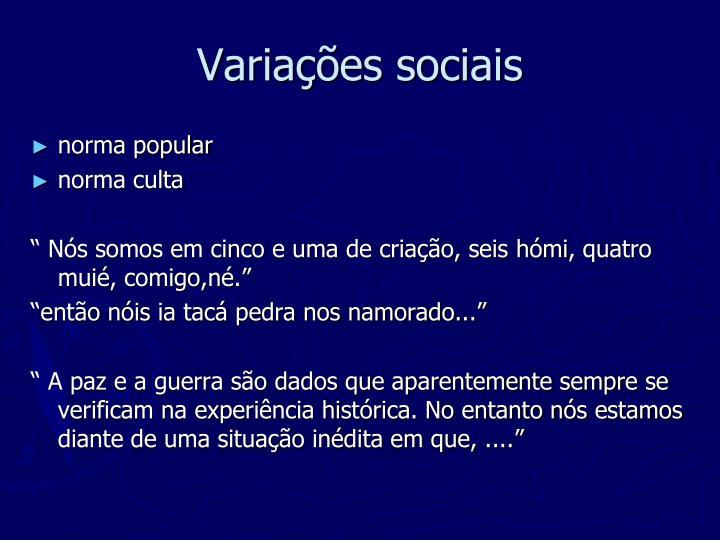 Variações sociais