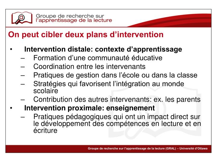 Intervention distale: contexte d'apprentissage