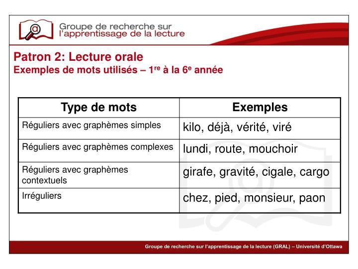 Patron 2: Lecture orale