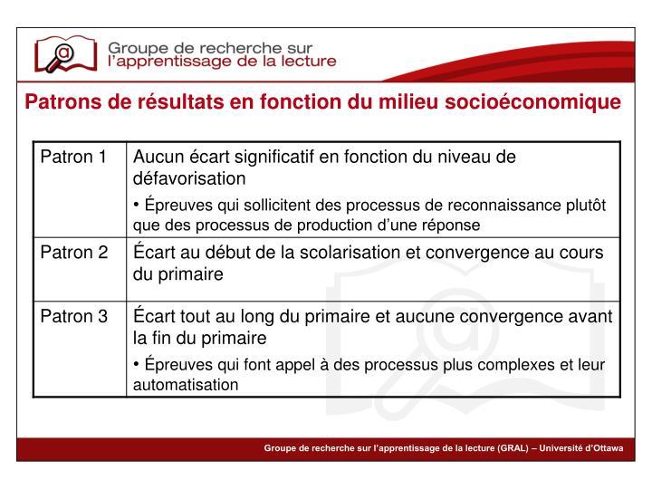 Patrons de résultats en fonction du milieu socioéconomique