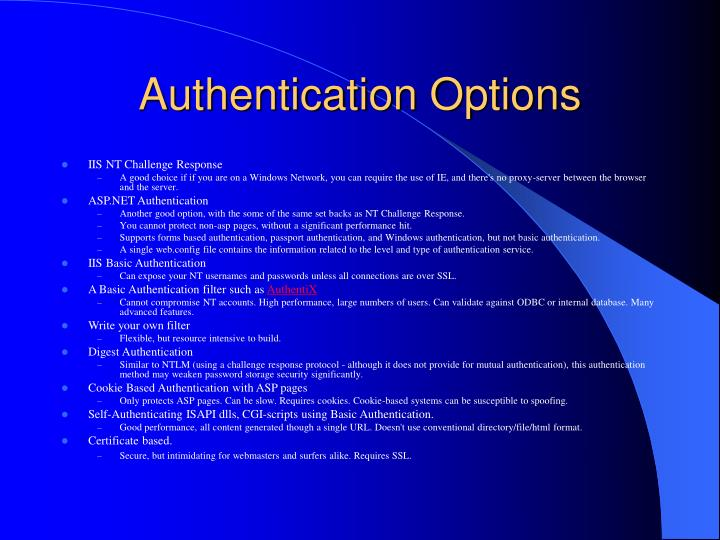 Authentication options