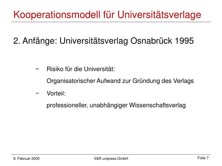 Kooperationsmodell für Universitätsverlage