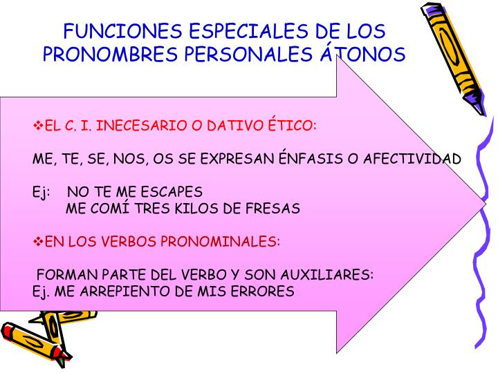 FUNCIONES ESPECIALES DE LOS PRONOMBRES PERSONALES ÁTONOS