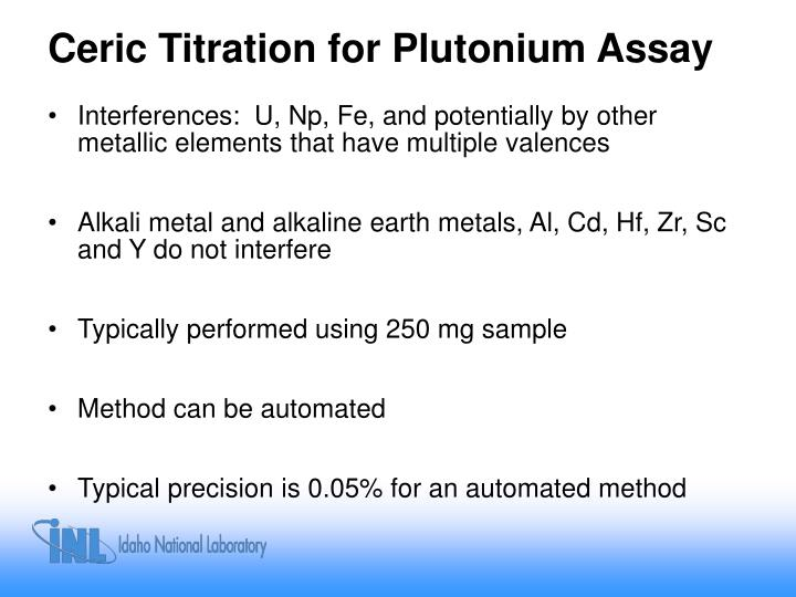 Ceric Titration for Plutonium Assay
