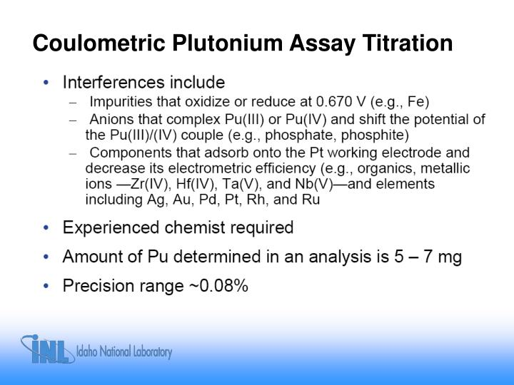 Coulometric Plutonium Assay Titration