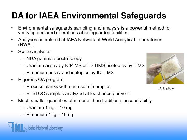 DA for IAEA Environmental Safeguards