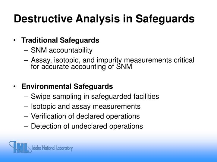 Destructive Analysis in Safeguards