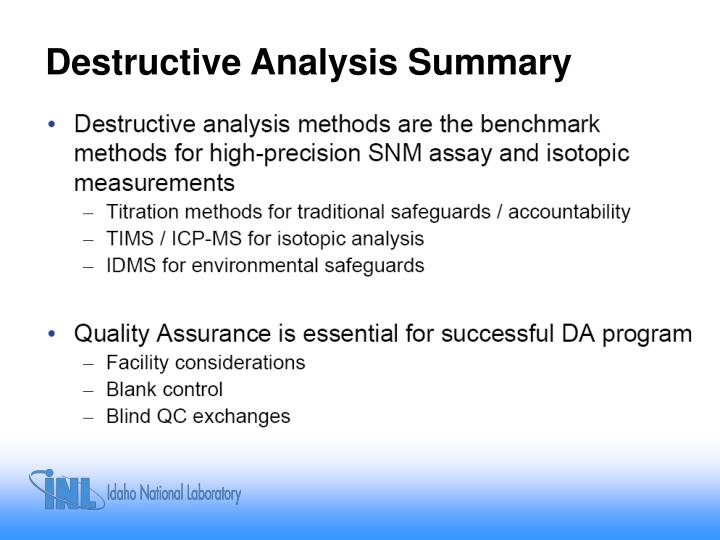Destructive Analysis Summary