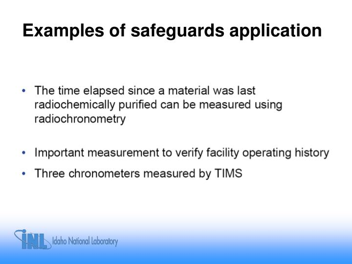 Examples of safeguards application