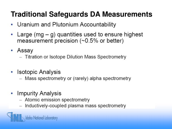 Traditional Safeguards DA Measurements