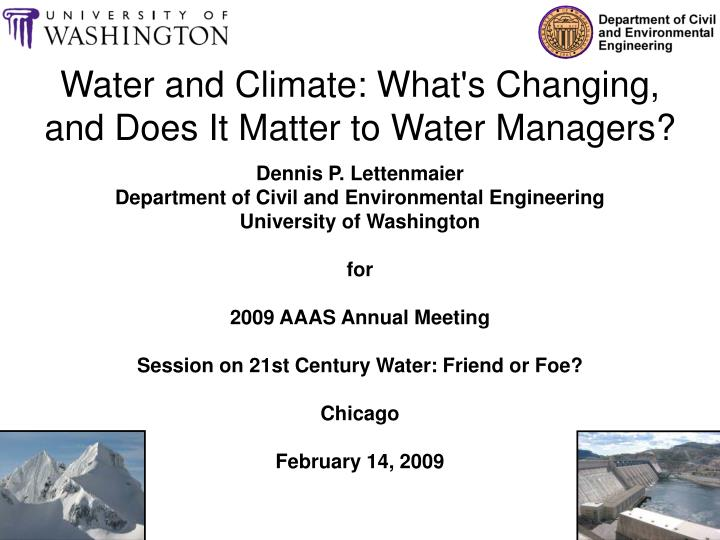 Water and climate what s changing and does it matter to water managers