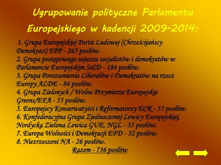 Ugrupowanie polityczne Parlamentu Europejskiego w kadencji 2009-2014: