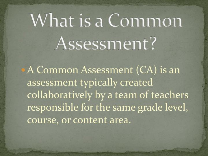 What is a Common Assessment?