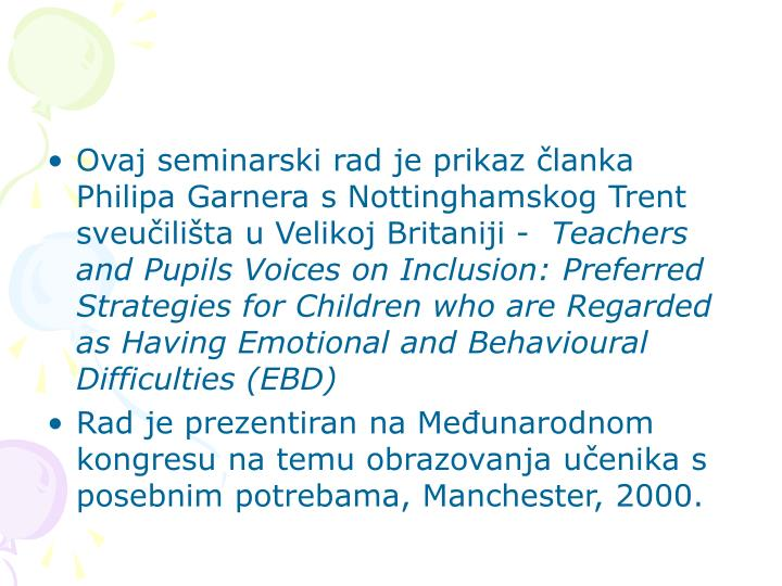 Ovaj seminarski rad je prikaz članka Philipa Garnera s Nottinghamskog Trent sveučilišta u Velikoj Britaniji -