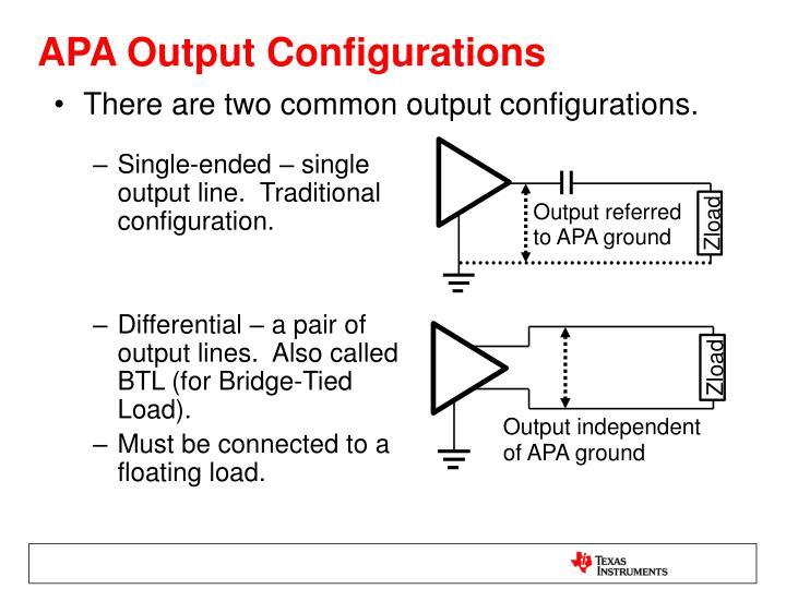 APA Output Configurations