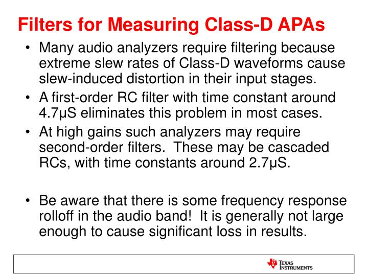 Filters for Measuring Class-D APAs