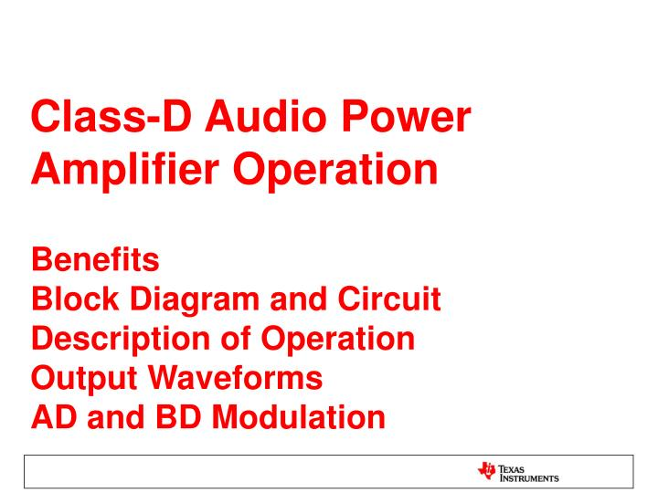 Class-D Audio Power Amplifier Operation