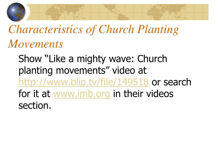 Characteristics of Church Planting Movements