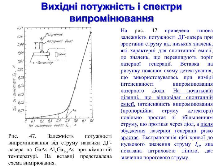Вихідні потужність і спектри випромінювання