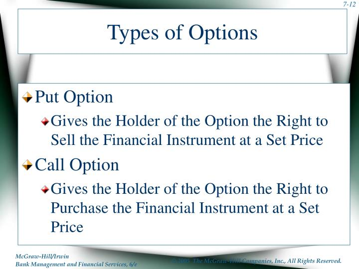 Types of Options